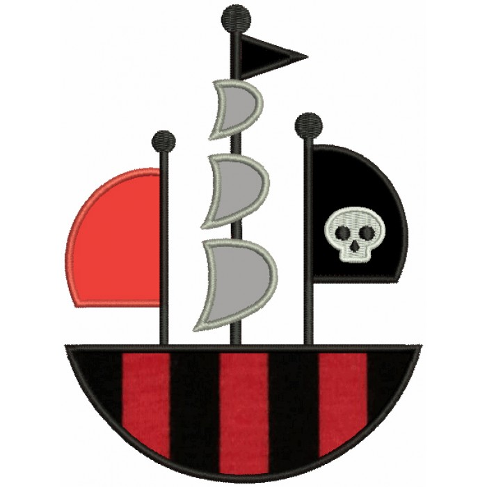 Pirate Ship With a Skull Flag Applique Machine Embroidery Design Digitized Pattern